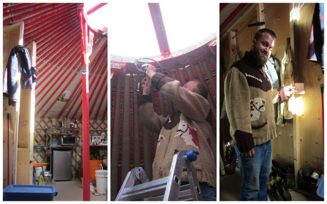 Joel installs our lights in the yurt.